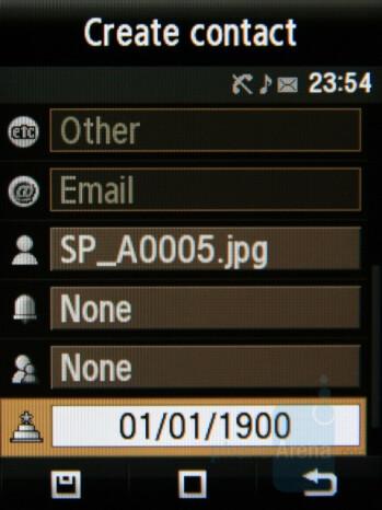 Phonebook management - Samsung Giorgio Armani Review