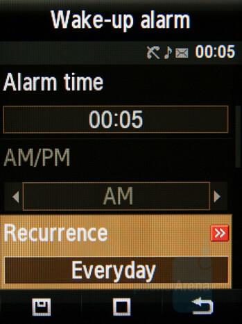 Alarm set - Samsung Giorgio Armani Review