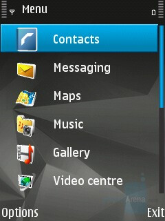 Main menu in List View - Nokia N82 Review