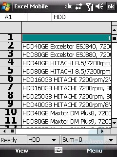 Excel sheet - HTC Touch Dual Review