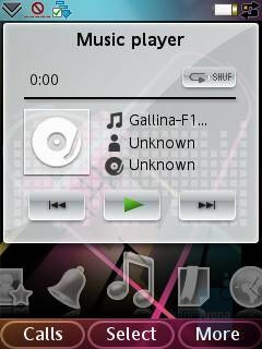 On the HomeScreen - Music player - Sony Ericsson G900 Preview