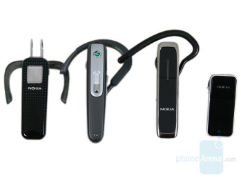left to right - Nokia BH-301, Sony Ericsson HBH-608, Nokia BH-602, Nokia BH-700 - Nokia BH-602 Review