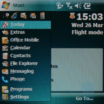 Start menu - Samsung SGH-i780 Preview