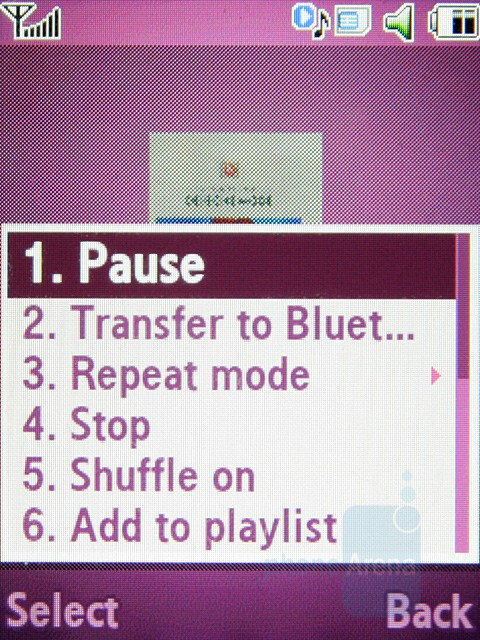 Music player - Samsung SGH-F400 Preview