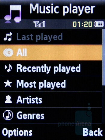 Music player interface - Samsung SGH-L770 Preview