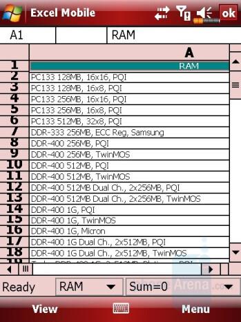 Excel sheet - Eten M800 Review