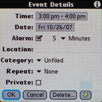 Event Settings - Palm Centro AT&T Review