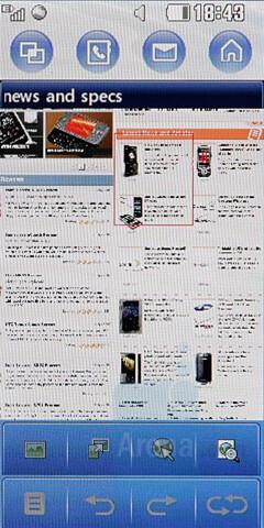 Internet browsing - LG KF700 Preview