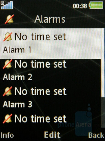 Alarms - Sony Ericsson G502 Review