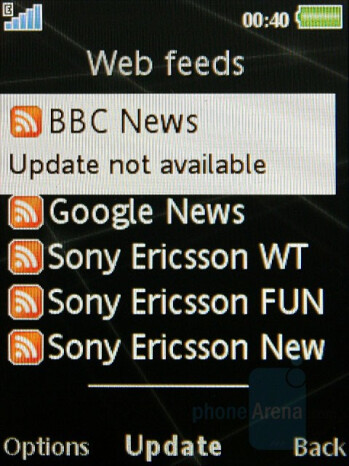 RSS reader - Sony Ericsson G502 Review