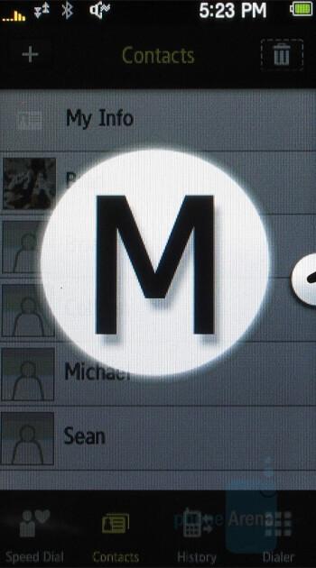 Alphabet Scrolling - Samsung Instinct Review
