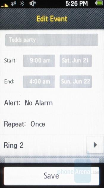 Organizer - Samsung Instinct Review
