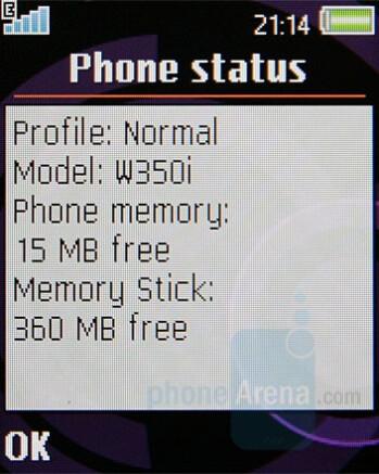 Memory Status - Sony Ericsson W350 Review