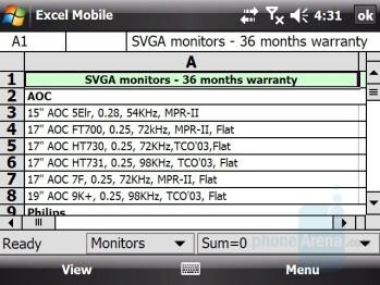 Excel - HTC X7510 Advantage Review