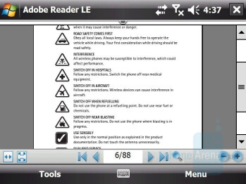 Adobe Reader - HTC X7510 Advantage Review