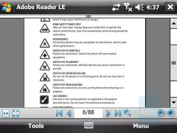 Adobe Reader - HTC X7510 Advantage Review