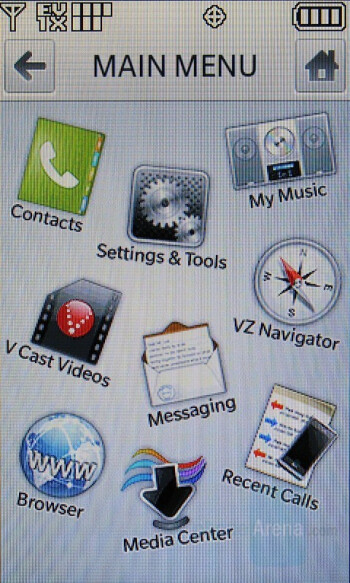 LG Dare - User interface - Touchscreen phone comparison Q3 - U.S. carriers