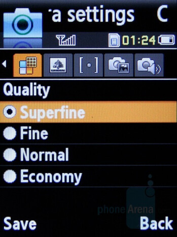 Camera Settings - Samsung SGH-L770 Review