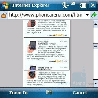 Internet browsing - Palm Treo 800w Review