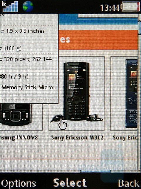 Internet browsing - Sony Ericsson W902 Preview