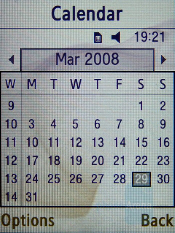 Calendar - Samsung SGH-D780 Review