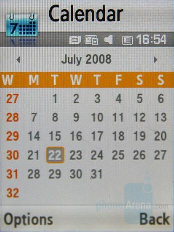Calendar - Samsung SGH-F400 Review