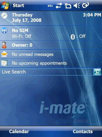 Home screen and Main menu - i-mate Ultimate 9502 Preview