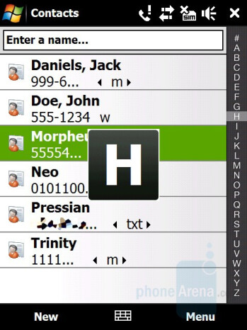 Phonebook - HTC Touch Pro Review