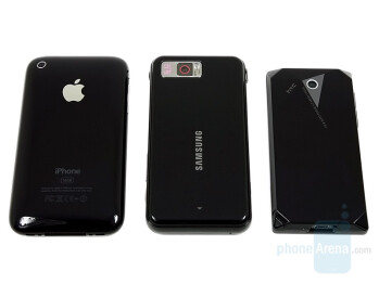 left to right and bottom to top - Apple iPhone, Samsung OMNIA, HTC Touch Diamond - Touchscreen phone comparison Q3 - GSM phones