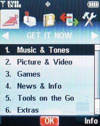 Main menu - Nokia 6205 Review