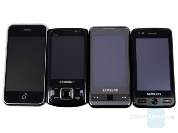 From left to right and top to bottom the phones are iPhone, INNOV8, OMNIA, Pixon - Samsung Pixon Preview