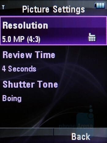 Camera Interface - Motorola ZINE ZN5 Review