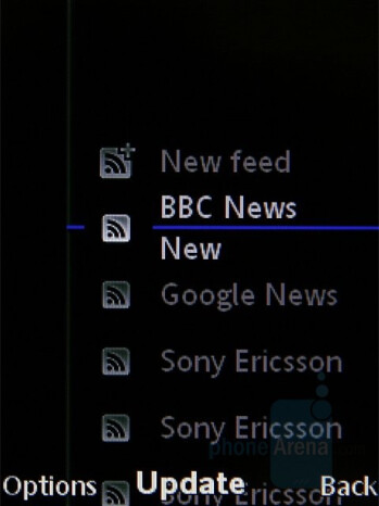 RSS reader - Sony Ericsson C905 Review