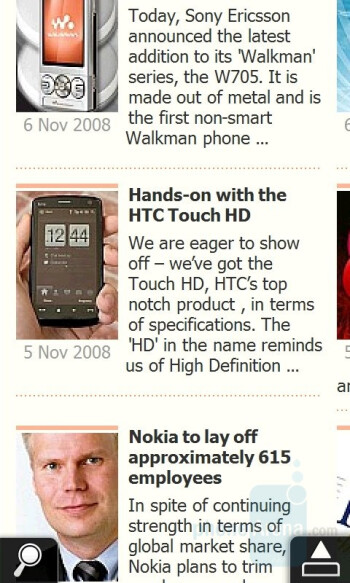 Web browser - HTC Touch HD Review