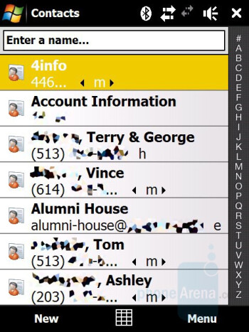 Phonebook - HTC Touch Pro CDMA Review