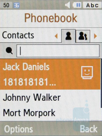 Phonebook - Samsung S7330 Preview