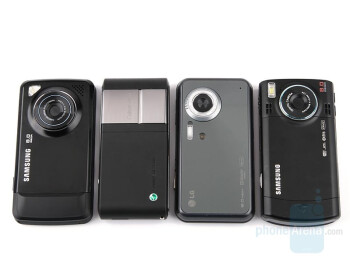 From left to right and bottom to top - Samsung Pixon, Sony Ericsson C905, LG Renoir, Samsung INNOV8 - All-angle comparison of the 8MP phones