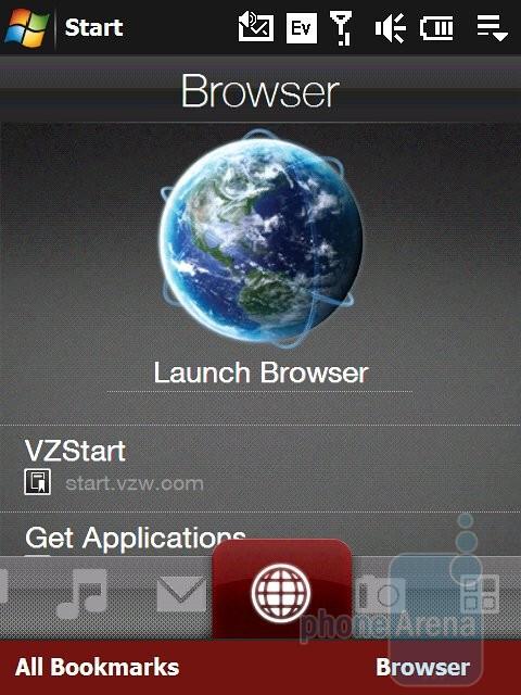 Browser tab - Verizon theme - HTC Touch Pro Verizon CDMA Review
