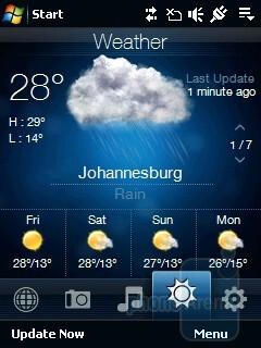 Weather - TouchFLO interface - HTC Touch Viva Review