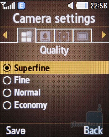 Camera interface - Samsung B2700 Review