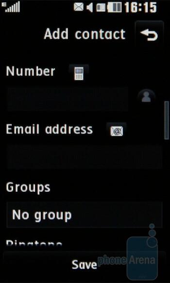 Adding a new contact - LG PRADA II Review