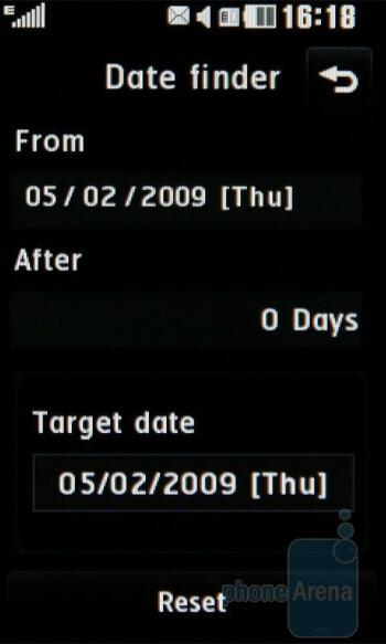 Date finder - LG PRADA II Review