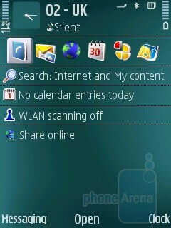 Home screen - Nokia N79 Review