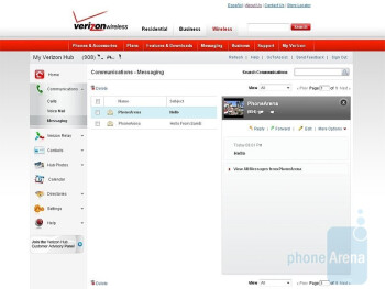 Checking the messages online on My Verizon website - Verizon Hub Review