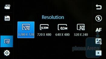 Camera interface - Samsung OMNIA HD Preview