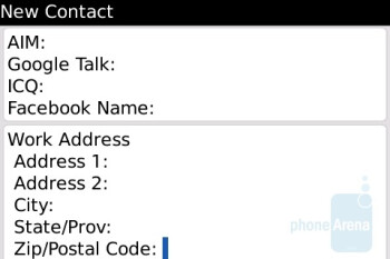 Phonebook interface - BlackBerry Bold Review