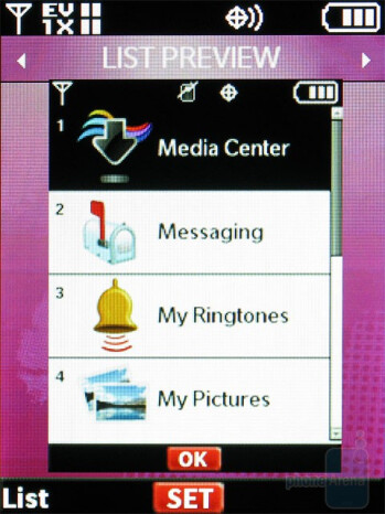 Main Menu customization options - Nokia 7205 Intrigue Review