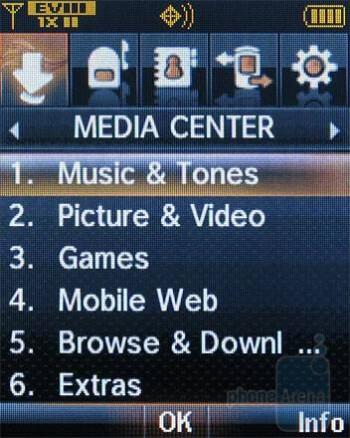 Homescreen and main menu - Verizon Wireless CDM8975 Review