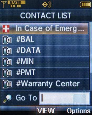 Contacts - Verizon Wireless CDM8975 Review