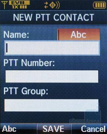 Adding a PTT contact - Verizon Wireless CDM8975 Review